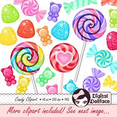 -------- 10% OFF with COUPON CODE: PIN10 -------- Rainbow Candy Clipart Sweet Shoppe Birthday by DigitalDollface