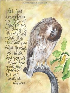 "Shawna Wright Art - ""Let God transform you into a new person by changing the way you think. Then you will know what He wants you to do and you will know how good and perfect His will really is. Bible Verses Quotes, Bible Scriptures, Christian Life, Christian Quotes, Bible Promises, God Loves You, Favorite Bible Verses, Jesus Is Lord, Bible Art"