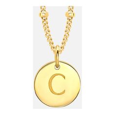 Missoma Women's Initial Charm Necklace - C - Gold ($135) ❤ liked on Polyvore featuring jewelry, necklaces, initial charm necklace, gold letter charms, gold initial necklace, letter charms and yellow gold necklace
