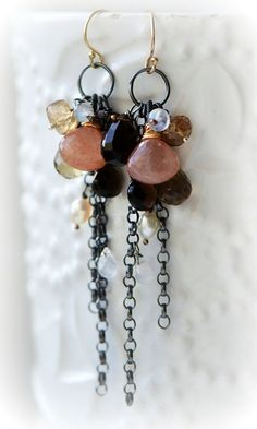 oOo The SCENT of AUTUMN Earrings oOo gemstone tassel #handmadejewelry
