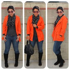 OOTD: @Donna Maywald Navy Jacket + @FOREVER.com 21 Polka Dot Scarf Details and Links at http://mimigoodwin.blogspot.com/2012/11/ootd-orange-hooded-anorak-polka-dot.html #mimigstyle