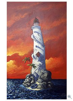 Lighthouse painting by Miguel Freitas