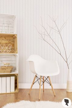 Room interior with pure white herringbone feather wallpaper Hall Wallpaper, Feather Wallpaper, Accent Wallpaper, Chevron Wallpaper, Kitchen Wallpaper, Wallpaper Decor, Herringbone Wallpaper, Herringbone Pattern, Striped Walls