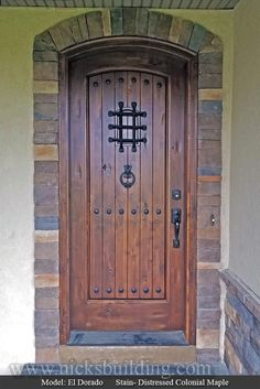 Shop for Top Quality Rustic Exterior Doors in Knotty Alder or Teak. Arched Top Exterior Teak Doors and Arched Top Exterior Knotty Alder Doors with Enhance the Look of Your Home Wood Front Doors, Rustic Doors, Wooden Doors, Wood Exterior Door, Rustic Exterior, Interior And Exterior, Knotty Alder Doors, Door Picture, Doors Online