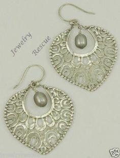 Silpada Gray Pearl Fan Earrings ~ My very first Silpada item years ago!