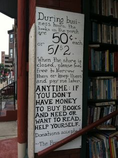 Sign in front of the Paradox Bookstore in Wheeling, WV. | More about Paradox: http://www.indiebound.org/stores/paradox-book-store