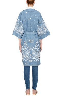 Embroidered Hand Bleach Denim Kimono by SEA Now Available on Moda Operandi