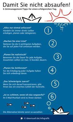 """Zeitmanagement-Infografik: """"6 Tipps, damit Sie nicht absaufen!"""""""