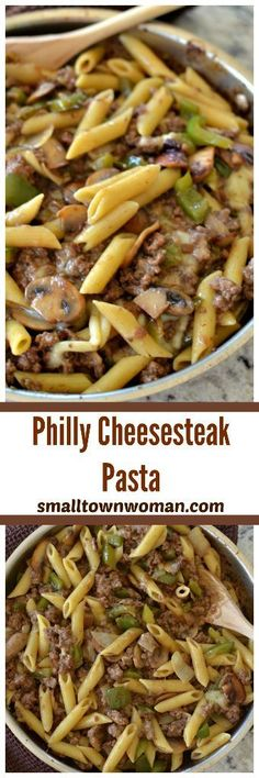Philly Cheesesteak Pasta Need a quick family dinner? These Philly Cheesesteak Pasta is packed with ground beef, green peppers, mushrooms, and creamy provolone cheese. Tender penne pasta makes this a filling, fast family dish. Casserole Recipes, Pasta Recipes, Dinner Recipes, Cooking Recipes, Sauce Recipes, Lasagna Recipes, Pizza Casserole, Rib Recipes, Tofu Recipes