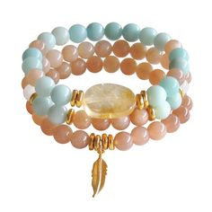 Boho Bracelet Stack  FREE SHIPPING Amazonite Sunstone by BBTresors