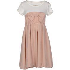 Atelier Fixdesign Short Dress (€105) ❤ liked on Polyvore featuring dresses, dove grey, mini dress, gray mini dress, grey mini dress, short dresses and short sleeve dress