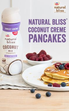 Calling all coconut lovers! These Coconut Crème Pancakes are delicious, decadent and 100% dairy-free! Using natural bliss® Sweet Creme Coconut Milk Creamer, these pancakes are the perfect treat and will add flavor to any week day morning. Try this recipe and more today at Coffeemate.com/recipes!