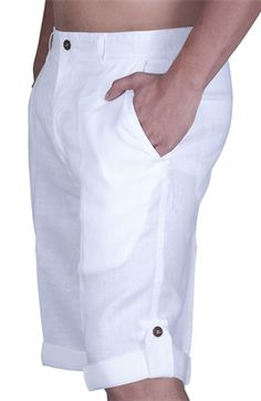 Linen shorts. Can be worn with hem rolled up or down.    I need some white shorts/pants/capris for summer!
