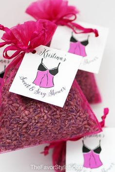 Seems like you've been planning this shower forever! Finally ready to celebrate the bride-to-be? Make sure you have the perfect favors for your guests! These pretty pink sachets with soothing lavender are our favorite fragrant gifts for bridal teas and lingerie parties. Click to see how we can personalize with your custom details! #lingerieparty #lavender #favors #bridalshower #partyfavors Spa Party Favors, Tea Favors, Bachelorette Party Favors, Bridal Shower Favors, Birthday Party Favors, Lingerie Shower Cookies, Lingerie Shower Games, Lingerie Party, Lavender Sachets