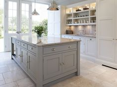 Shaker Kitchens - Contemporary Shaker Kitchen - Tom Howley Light grey work top. Something line Ivory Spice granite?