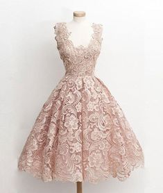 Cute light pink lace short prom dress, lace bridesmaid dress
