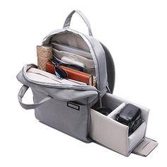 Gray Professional Fashion Multifunction DSLR SLR Camera Bag Travel Outdoor Tablet Laptop Bag Waterproof Durable Camera Backpack for Sony Canon Nikon Olympus SLR/DSLR Cameras
