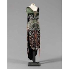 BEADED AND EMBROIDERED SATIN TRAINED EVENING GOWN, FRENCH, CIRCA 1920