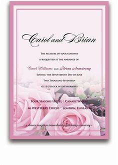 135 Rectangular Wedding Invitations - Baby Pink Roses on Pink by WeddingPaperMasters.com. $353.70. Now you can have it all! We have created, at incredible prices & outstanding quality, more than 300 gorgeous collections consisting of over 6000 beautiful pieces that are perfectly coordinated together to capture your vision without compromise. No more mixing and matching or having to compromise your look. We can provide you with one piece or an entire collection in a one stop s...