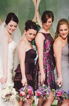 We love how the bridesmaids wore all different shades of deep plums and grays-- perfect for an elegant fall wedding! {JordanQuinn Photography}