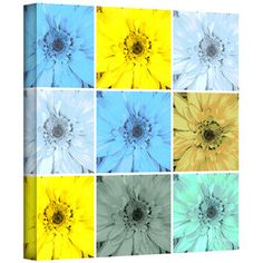 24 x 36 Multicolor ArtWall Elana Rays Sunflowers in a Bottle Appealz Removable Graphic Wall Art