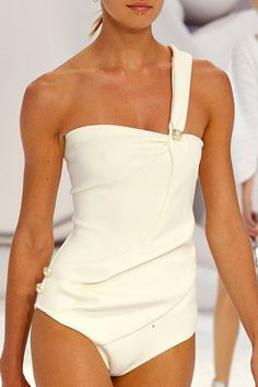 For me the perfect swimsuit from Chanel Spring 2012 by Ingrid Paola Look Fashion, High Fashion, Womens Fashion, Fashion Shoes, Coco Chanel, Chanel Paris, Karl Otto, Bikinis, Swimsuits