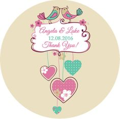 Love birds wedding favours stickers x 1 A4 Glossy Stickers Sheet