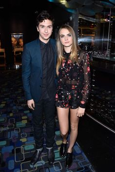 Nat Wolff and Cara Delevingne attend the Canadian Premiere Of Century Fox's Paper Towns at Scotiabank Theatre on July in Toronto, Canada. Cara Delevingne Style, Paper Towns, Airport Style, Airport Fashion, Celebs, Celebrities, Floral Blouse, My Girl, Nice Dresses