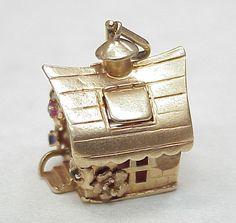 Vintage Large 14k Gold Jeweled Charm ~ COTTAGE 1950's...