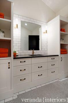Altadore {one} Main Bath // Veranda Estate Homes & Interiors #bath #bathroom #brass #visualcomfort