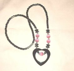 Ladies Hematite Beaded Necklace Heart Pendant by ForHerEarsOnly