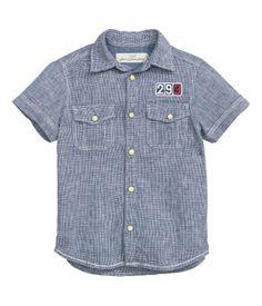 Short-sleeved Shirt | Dark blue melange | Kids | H&M US