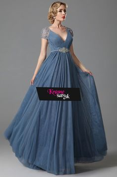 Sexy V Neck Empire Waist Embroidery Evening Dress Evening Dresses, Prom Dresses, Formal Dresses, Fairytale Gown, Grey Prom Dress, Lace Sleeves, Wedding Season, Custom Made, Ball Gowns