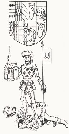 Queen Isabella was able to come to an understanding with her husband's first favorite Piers Gaveston 1.Earl of Cornwall, shown here lying dead+19 June 1312 Blacklow Hill near Warwick on land of Tomas 2.Duke of Lancaster (decapitated in 1322 by Edward II.)at the feet of Guy de Beauchamp 10.Earl of Warwick, in a 15th-century representation./Guy de Beauchamp, Earl of Warwick standing over the decapitated body of Piers Gaveston. From the Rous Rolls. Date	15th century Source	Scanned from Hicks…