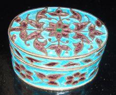 Boite à pilule argent émaillée antiquité ancien bijoux poudrier 19ème XIXème