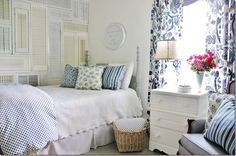 Get the Look:  Blue and White Guest Bedroom- I really like her use of fabrics here...very pretty, perfect for my house :)