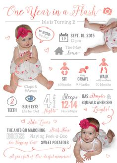 One Year In a Flash // First Birthday by aJillianthingsShop First Birthday Invitations, First Birthday Cakes, Baby Birthday, First Birthday Parties, First Birthdays, First Birthday Traditions, Birthday Ideas, Baby Posters, Babies First Year