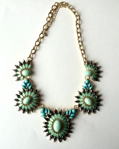 Turquoise & Seafoam for spring! Statement necklace.