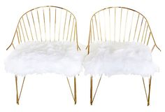 Brass Chairs w/ Faux-Fur Seats, Pair on Spotlight on Palm Springs