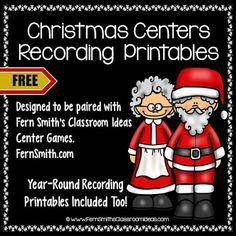 Fern Smiths FREE Christmas Centers Recording Sheet Printables Classroom FreebiesClassroom IdeasSubtraction StrategiesAddition StrategiesRecording Sheets