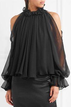 Jonathan Simkhai | Grommet cold-shoulder velvet-trimmed silk-chiffon blouse | NET-A-PORTER.COM