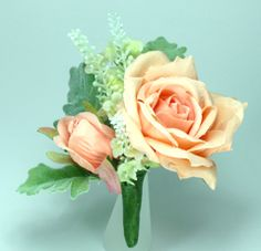Peach Rose and Blossom Silk Flower Corsage/Buttonhole
