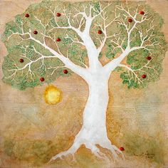 """""""The Apple Tree Man"""" -- 2013, mixed media on fiberboard, 12 x 12 in (30 x 30 cm). Based on the British myth of the Apple Tree Man, a spirit that inhabits the oldest tree in the orchard, and accumulates treasure among the roots.  #acrylic, #tree, #rustic, #apple, #folk, #folklore, #ink, #landscape, #legend, #art, #original"""
