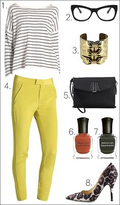 stripes + bright yellow + leopard = chromatic perfection #fashion