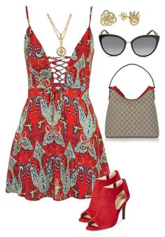 """""""Trieste"""" by dolenka ❤ liked on Polyvore featuring Topshop, Adrienne Vittadini, Gucci, Vera Bradley, Lagos and Jimmy Choo"""