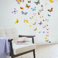 Amaonm 50 Pcs Colorful Butterfly Wall Decal for Kids Room Bedroom Living Room Wall Stickers Home Decor Heart -- More info could be found at the image url. (Note:Amazon affiliate link)