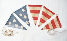 AMERICAN FLAG Burlap bunting banner Red White by HerBeautifulLife, $24.00