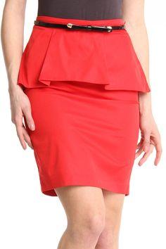 Red Peplum Pencil Skirt