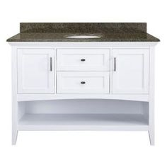 Home Decorators Collection Brattleby 49 in. W x 22 in. D Vanity in White with Granite Vanity Top in Quadro with White Basin-LBWV4821-QUA - The Home Depot