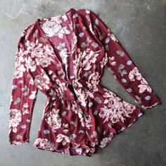 girl crush long sleeve floral romper with ruffle hem in burgundy - shophearts - 1